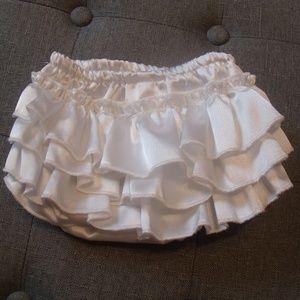 White Satin Ruffe Diaper Cover